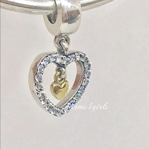 Authentic Pandora forever in my heart charm + 14k